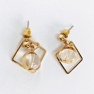 New! Geometric Square Hoop Beaded Earrings Gold